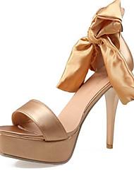 Women's Shoes Silk Stiletto Heel Open Toe Sandals Party & Evening / Dress Green / Silver / Gold