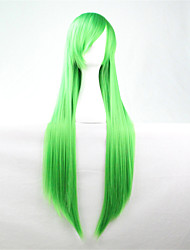 Europe And The United States The New Color Wig 80 CM Wide Grass Green Long Straight Hair Wig