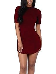Women's Sexy / Boho Solid Bodycon Dress,Turtleneck Above Knee Rayon