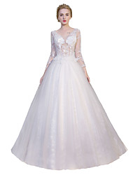Princess Wedding Dress Floor-length V-neck Tulle with Lace