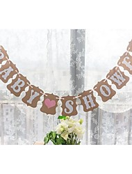 Rustic Kraft Paper Baby Shower Bunting Banner Party Table Decoration Photo Props