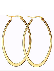 Feminino Brincos em Argola Moda bijuterias Aço Titânio 18K ouro Formato Circular Formato Oval Jóias Para Festa Diário Casual