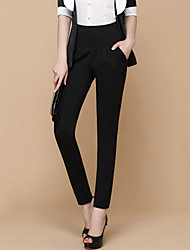 Women's High Waist Bodycon Thin OL Style Solid Black Long Harem Pants,Plus Size / Work
