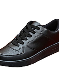 Men's Flats Spring / Summer / Fall / Winter Comfort PU / Fabric Casual Flat Heel Lace-up Black / Red / White Walking