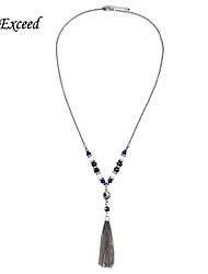 D Exceed Fashion Trendy Long Sparkly Crystal Glass beaded Necklace Jewelry with Fringe Tassels for Women