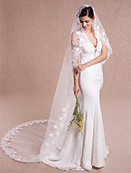 Wedding Veil One-tier Cathedral Veils Lace Applique Edge Tulle Lace Ivory