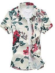 Men's Business Casual Slim Leaves Big Flower Short Sleeved Shirt,Cotton / Polyester Casual / Plus Sizes Floral