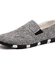 Sapatos Masculinos Mocassins Azul / Cinza / Preto e Branco Lona Casual