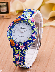 Women's Fashion Watch Quartz Plastic Band Flower Blue