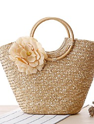 STYLE-CICI   Women-Casual-Straw-Tote-Beige / Green / Yellow / Fuchsia