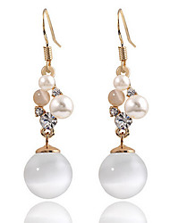 High-grade White Opal Elegant Pearl Rhinestones Hypoallergenic Earrings