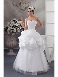 A-line Wedding Dress Floor-length Sweetheart Lace / Satin / Taffeta / Tulle with Lace / Pick-Up / Ruche