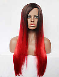 Capless Long Straight Red Side Bangs Synthetic Hair Full Wig for Womens