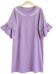 Women's Plus Size Printing Falbala Show Thin  Plus Size Dresses