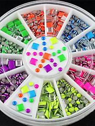 6 cores neon chapeamento quadrado liga rodada da arte do prego afiado adesivos dicas de glitter ferramentas Nail Fashion decoração diy