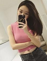 Women's Solid Pink / White / Black Vest,Street chic Sleeveless