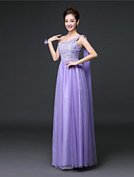 Ankle-length Lace / Satin / Tulle Bridesmaid Dress A-line One Shoulder with Lace