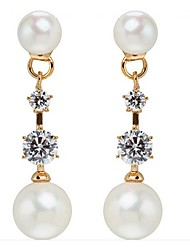 Drop Earrings Hoop Earrings AAA Cubic Zirconia Pearl Pearl Zircon Cubic Zirconia Gold PlatedBirthstones Double-layer Imitation Pearl