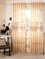 Two Panels European Patchwork Embroidery Polyester Panel Curtains Drapes