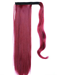 Red Wine 60CM Synthetic High Temperature Wire Wig Straight Hair Ponytail Color 118C