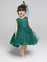 Ball Gown Knee-length Flower Girl Dress-Lace / Tulle Sleeveless