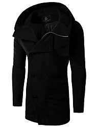 Men's Striped Casual Trench coat,Cotton Long Sleeve-Black