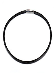 Men's Women's Chain Necklaces Circle Stainless Steel Leather Fashion Jewelry For Daily Casual