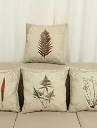Set of 4 Classical /Flowers And Plants Print Pattern Linen Pillowcase  Home Decor pillow Cover (18*18inch)