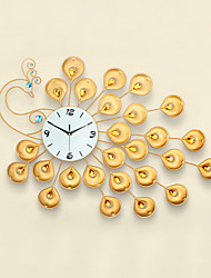 Modern Style Creative Golden Peacock Mute Wall Clock