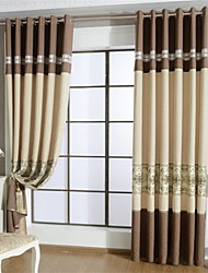 Two Panels European Patchwork Polyester Panel Curtains Drapes