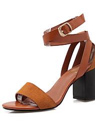Women's Shoes PU / Fleece Chunky Heel Heels/ Comfort / Open Toe Sandals Office & Career / Casual Black / Brown