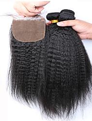 note 7a Slove hair7a péruvien cheveux crépus vierge fermeture de soie droite avec des faisceaux 4 pièces / lot 100% cheveux humains tisse