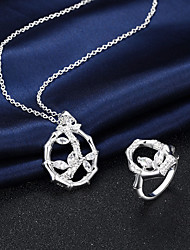 Silver Plated Jewelry Set Necklace/Ring Wedding / Party / Daily / Casual 2pcs