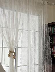 Dois Painéis Tratamento janela Europeu , Sólido Sala de Estar Poliéster Material Sheer Curtains Shades Decoração para casa For Janela
