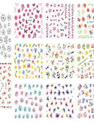 1pcs Include 11 Styles Nail Art  Stickers Simulate Design Colorful Flowers Image  E303-313