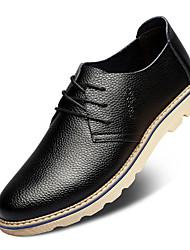Sapatos Masculinos Oxfords Preto / Branco Couro Casamento / Casual / Festas & Noite