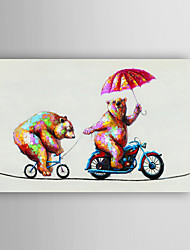 Hand Painted Oil Painting Animal Two Smart Bears in Cycling with Stretched Frame 7 Wall Arts®
