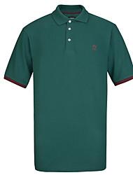 Lesmart Masculino Colarinho Chinês Manga Curta Camisa Azul / Preta / Cinzento / Laranja / Vinho / Verde Escuro-TK16307