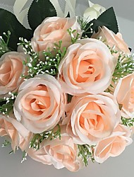 "Wedding Flowers Round Roses Bouquets Wedding / Party/ Evening Champagne Satin 9.84""(Approx.25cm)"