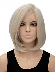 Fashion Natural White Color Bobo Straight Wigs Synthetic Wig