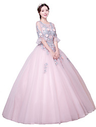 Ball Gown Jewel Neck Floor Length Tulle Formal Evening Dress with Appliques