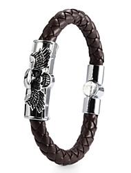 Vilam® High Quality PU Leather Zinc Alloy Two Wings Skull Men's Buckle Bracelet