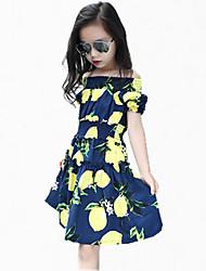 Girl's Blue / Pink Dress,Floral Cotton Summer