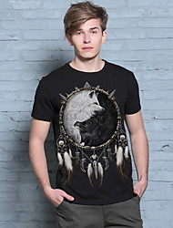 Brand Clothing Cotton T-Shirt Men Short Sleeve Fashion Style O-Neck Fitness New Arrival Fox Pattern Hip Pop T-Shirt