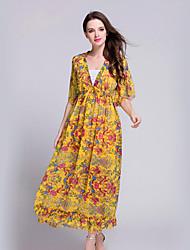 Mousseline de Soie / Swing Robe Aux femmes Plage Bohème,Imprimé Col en V Maxi ½ Manches Jaune Polyester Eté