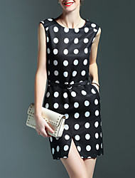 Women's Simple Polka Dot Sheath Dress,Round Neck Mini Polyester