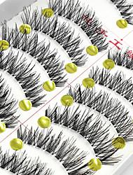 10 Pairs Cílios Pestana Tiras Completas de Cílios Pestana Cruzado / Comprimento NaturalEstendido / Pestanas Levantadas / Volumizado /