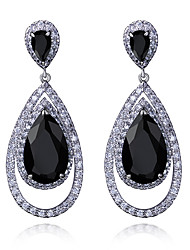 New trend Dressed Wedding Drop shape Platinum plated 4 colors Cubic zircon Drop earrings for women