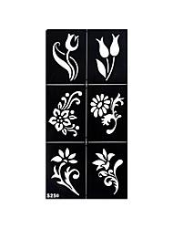 1pc Tattoo Henna Airbrush Stencil Temporary Four Leaf Clover Flower Black Tattoo Pattern Sticker S249
