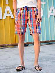 Pantaloncini Uomo Casual A quadri Nylon Arancione